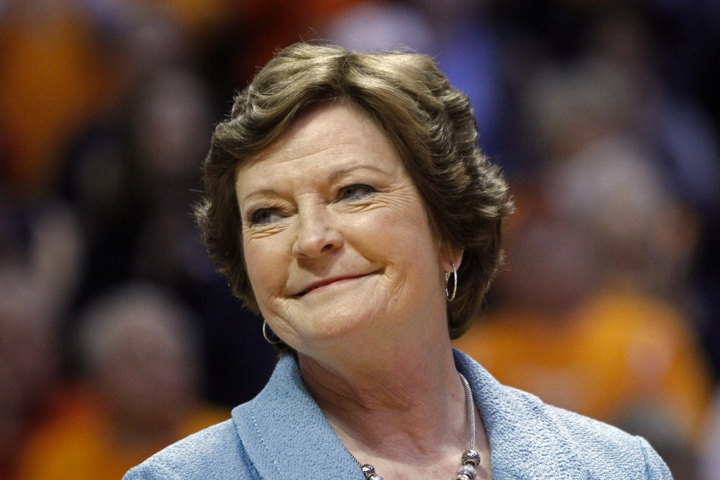 Tennessee head coach emeritus Pat Summitt smiles as a banner is raised in her honor before an NCAA basketball game against Notre Dame on  Jan. 28, 2013, in Knoxville, Tenn. Associated Press