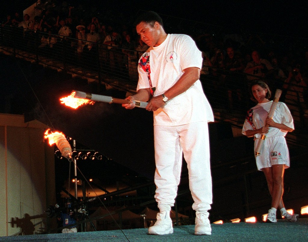 Muhammad Ali lights the Olympic flame during the 1996 Summer Olympic Games opening ceremony in Atlanta.