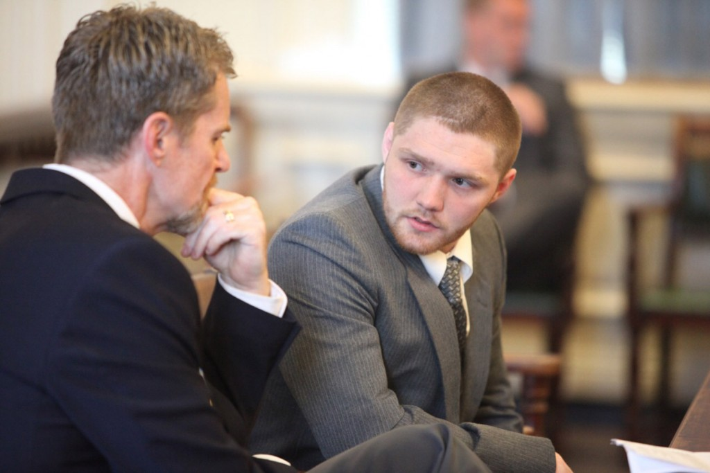 Carlton L. Young, right, of Sanford listens to attorney Rick Winling in York County Superior Court during an appearance to enter his plea to a charge of felony murder Monday. He was charged in the death of 62-year-old Connie Loucks. He is accused of causing her to have a heart attack during an attempted burglary at her home in Wells.