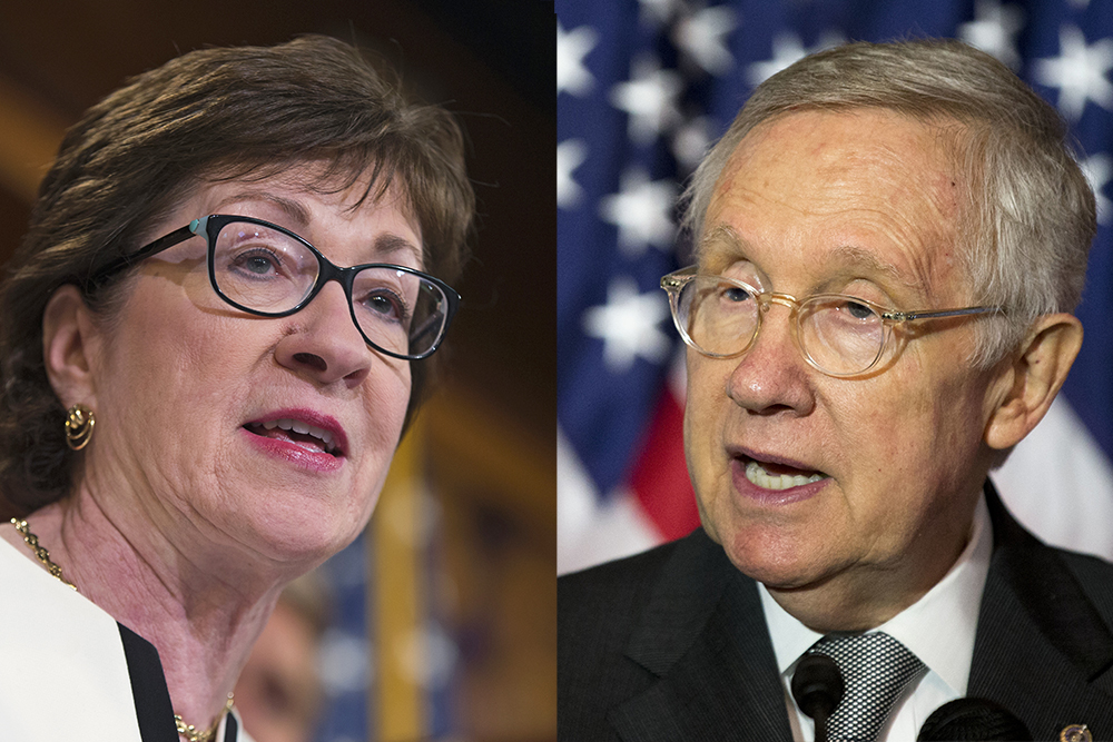 Sen. Susan Collins, R-Maine speaks during a news conference on Capitol Hill in Washington, on Tuesday to unveil a new gun legislation proposal. On Wednesday, Senate Minority Leader Harry Reid said,