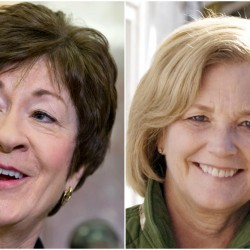 U.S. Sen. Susan Collins, R-Maine, right, and U.S. Rep. Chellie Pingree, D-1st District.