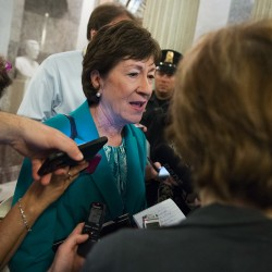 Sen. Susan Collins, R-Maine speaks to reporters on Capitol Hill in Washington, Thursday, June 23, 2016, after a procedural vote on gun legislation. (AP Photo/Evan Vucci)