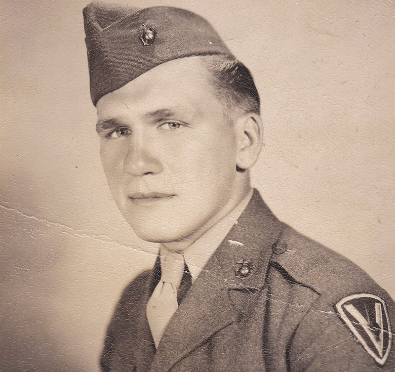 An undated photograph of Private First Class Harold Schultz of Detroit. The Marine Corps announced that Schultz was one of the six men in the iconic World War II photograph showing the raising of the American flag at Iwo Jima.