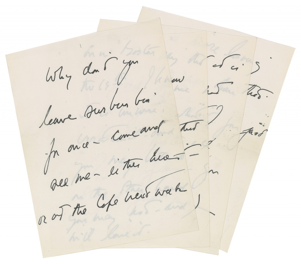 This photo provided by RR Auction shows a handwritten letter by President John F. Kennedy to a purported paramour, attempting to persuade her to meet him for a liaison. Via AP
