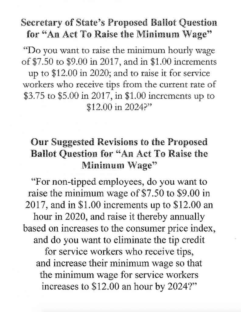 A flier distributed Thursday by a coalition of Maine business groups shows the current version of the November minimum wage ballot question followed by the group's proposed  version.