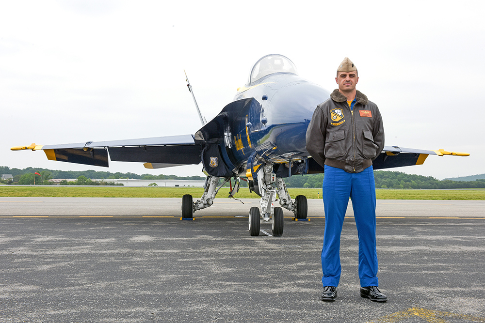 This May 19, 2016, photo shows Marine Capt. Jeff Kuss at an air show in Lynchburg, Va. Kuss was killed when his Blue Angels F/A-18 fighter jet crashed Thursday near Nashville. Matt Bell/The Register & Bee via AP