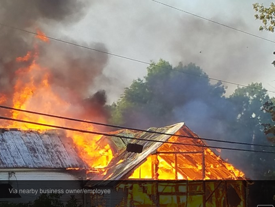 Fire consumes buildings at 209 Ossipee Hill Road in Waterboro on Sunday. (WCSH Channel 6 photo)