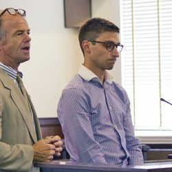 Lewiston attorney Allan Lobozzo, left, and  Zachariah Sherburne in Oxford County Unified Court.