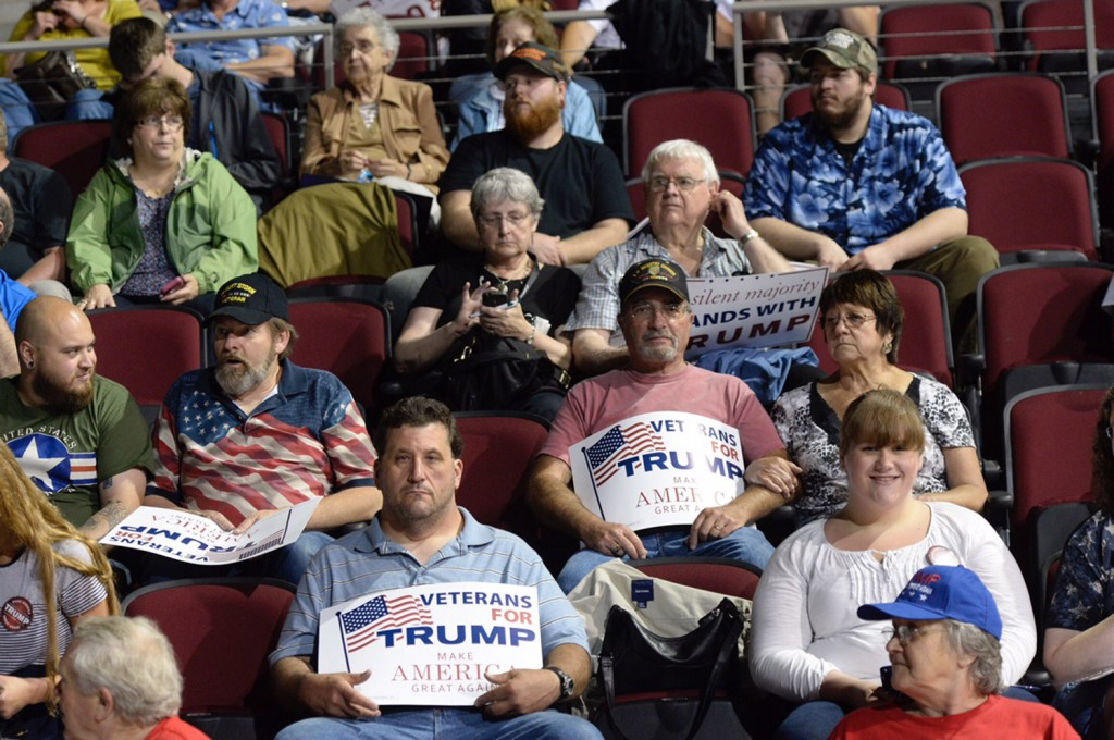 A crowd waits for the arrival of Donald Trump at Cross Insurance Center in Bangor on Wednesday.