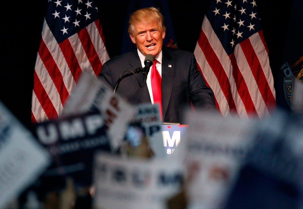 """Republican presidential candidate Donald Trump said at a rally Wednesday in Bangor, """"Every country that we do business with looks at us as, we are the stupid people."""""""