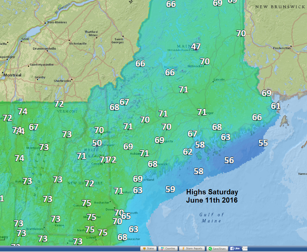 Saturday high temperatures this weekend