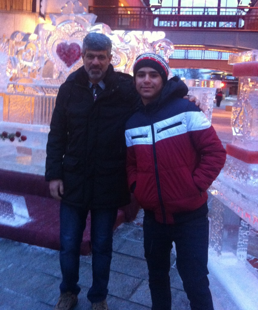 Mohammed Al-Ammar and his father, Qassim Al-Ammar, on a recent trip to Boston.