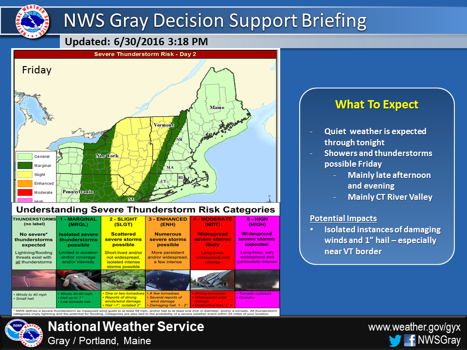 Afternoon and evening showers and storms are likely Friday