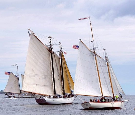 The schooners Eastwind, Spirit of Massachusetts and Harvey Gamage, right to left, sail around Boothbay Harbor in this June 27, 2012 file photograph.