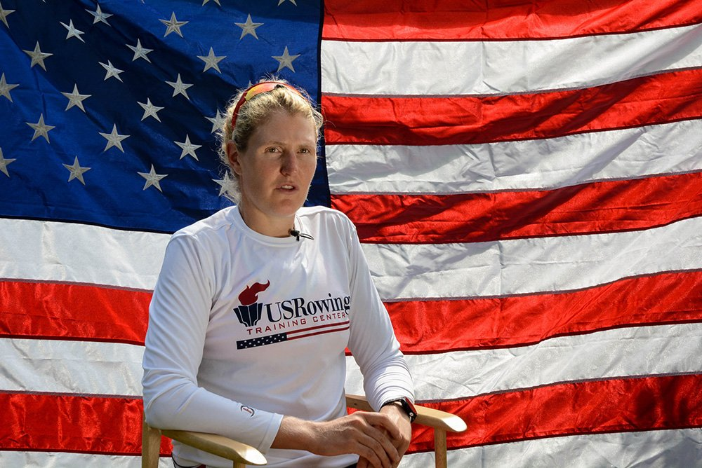 American rower Ellie Logan is a two-time Olympic champion and Maine's only athlete in the 2016 Rio Olympic games. Photo courtesy of USRowing