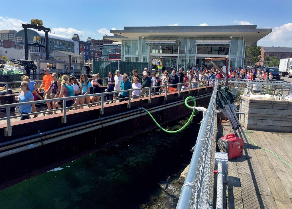 Lines form for a Casco Bay Lines ferry in July.