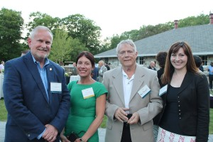 Dr. Jim Dlugos, president of Saint Joseph's College and Class of 2015, with Terri Coakley of Maine Magazine, Rob Russell of Auburn and Gabrielle Russell, an architect with Platz Associates, and a member of the Shaping Maine Class of 2015.