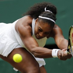 Serena Williams of the U.S returns to Christina McHale of the U.S during their women's singles match on day five of the Wimbledon Tennis Championships.