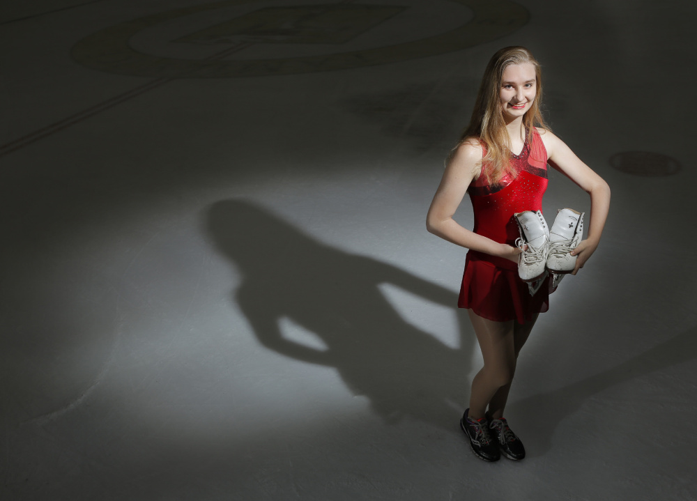 Cassandra Albano, 17, of South Portland competes in synchronized skating with Team Excel Synchronized Skating. She makes the 220-mile round trip to Boston for twice-weekly team workouts.