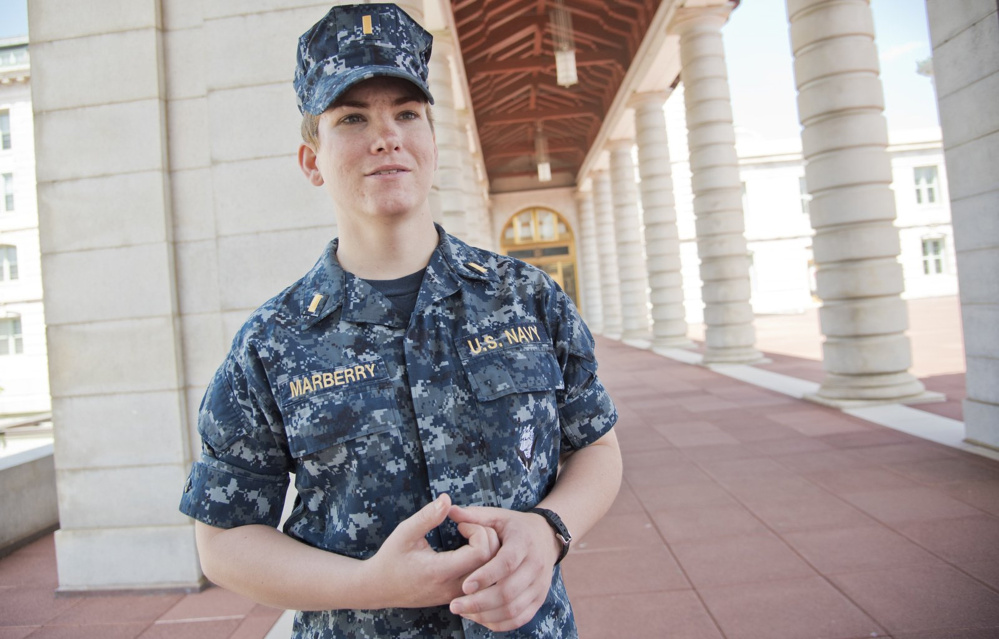 Ensign Ali Marberry says she is atrophying in her desk job at the Naval Academy. Marberry is waiting for new rules to take effect so she can train to be a pilot.