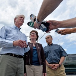 From left, Sen. Angus King, Sen. Susan Collins and Rep. Bruce Poliquin speak to reporters Friday after a tour of Sappi Fine Paper in Skowhegan. The delegation was at the paper mill to highlight creation of a federal team that will look at the future of the forest products industry in Maine and how to keep it viable.