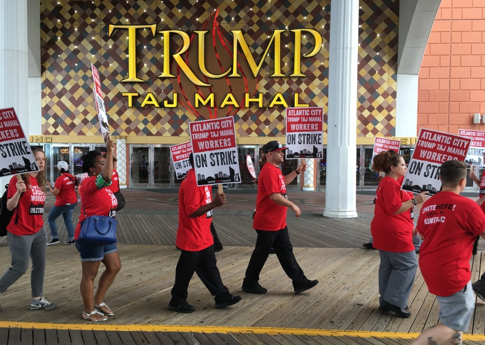 Despite noisy picketers outside the Trump Taj Mahal in Atlantic City, N.J., the gambling resort founded by Donald Trump and now owned by Carl Icahn says it'll remain open.