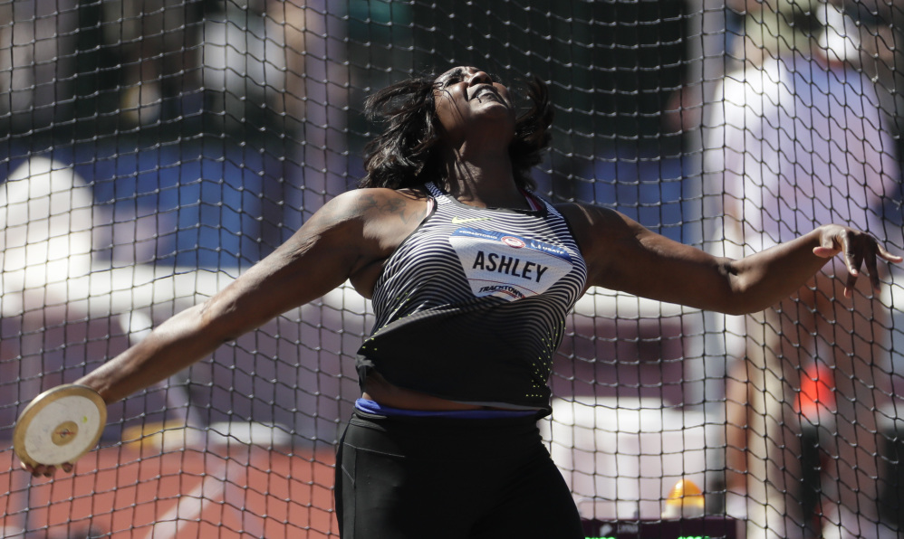Whitney Ashley captured the discus championship Saturday in the U.S. Olympic trials at Eugene, Oregon, qualifying for the Rio de Janeiro Olympics with a throw of 204 feet, 2 inches on her fifth attempt.