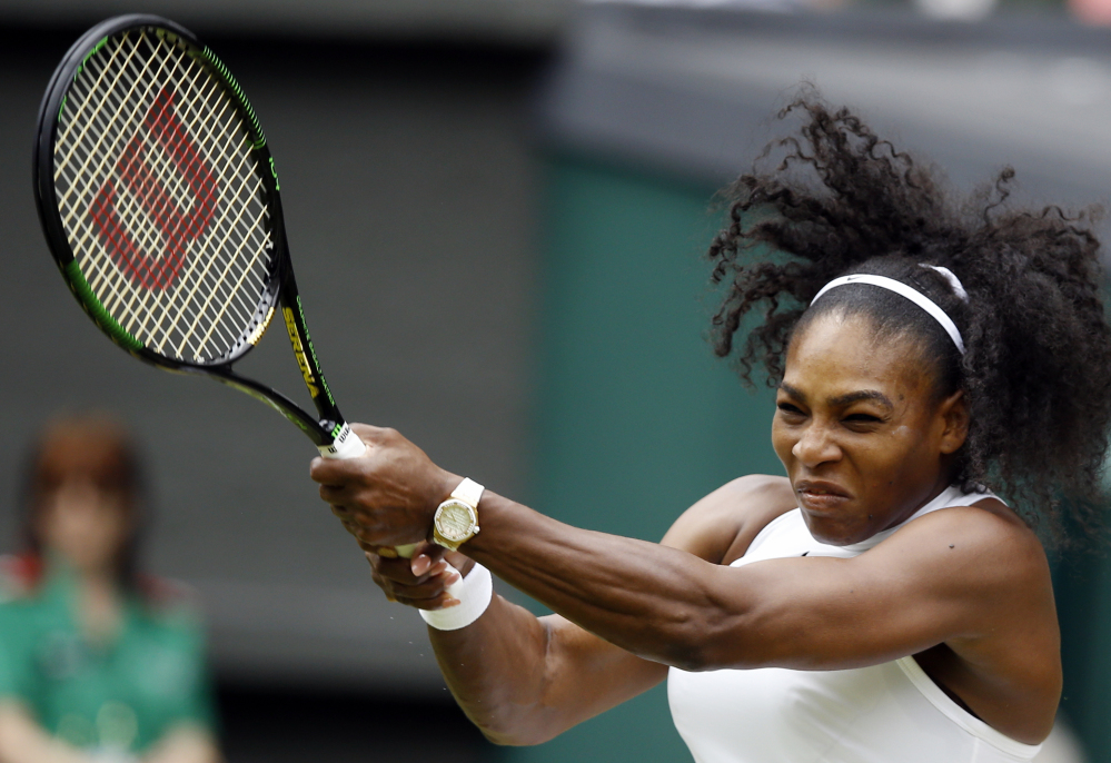 Serena Williams hits a return shot to Svetlana Kuznetsova during their match Monday in London. Williams trailed in the first set but won nine straight games to take the match.