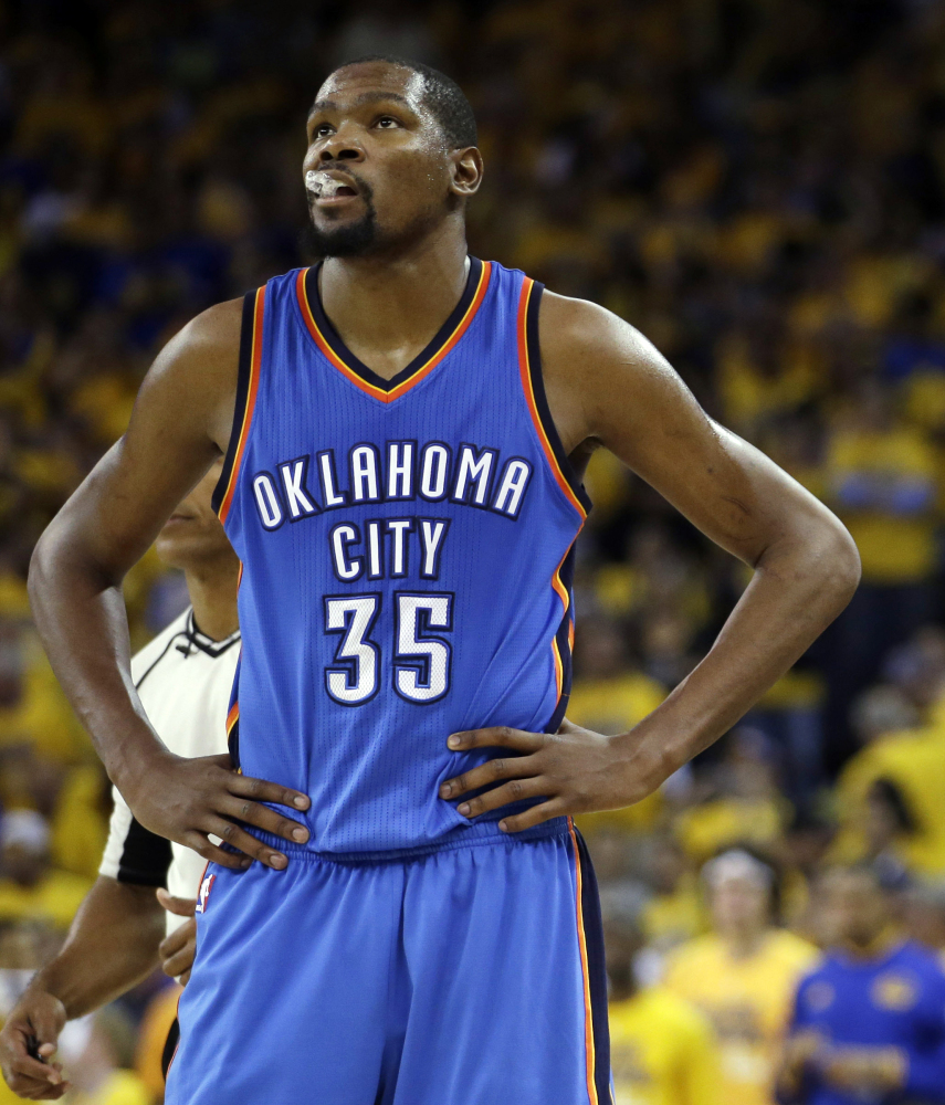Kevin Durant, a star with the Thunder, agreed to join the Western Conference champion Warriors on Monday, making them the team to beat.