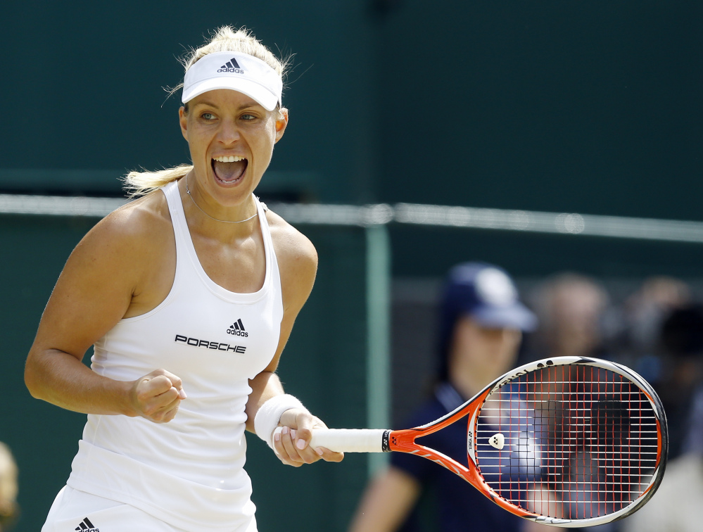 Angelique Kerber of Germany celebrates a point against Venus Williams.