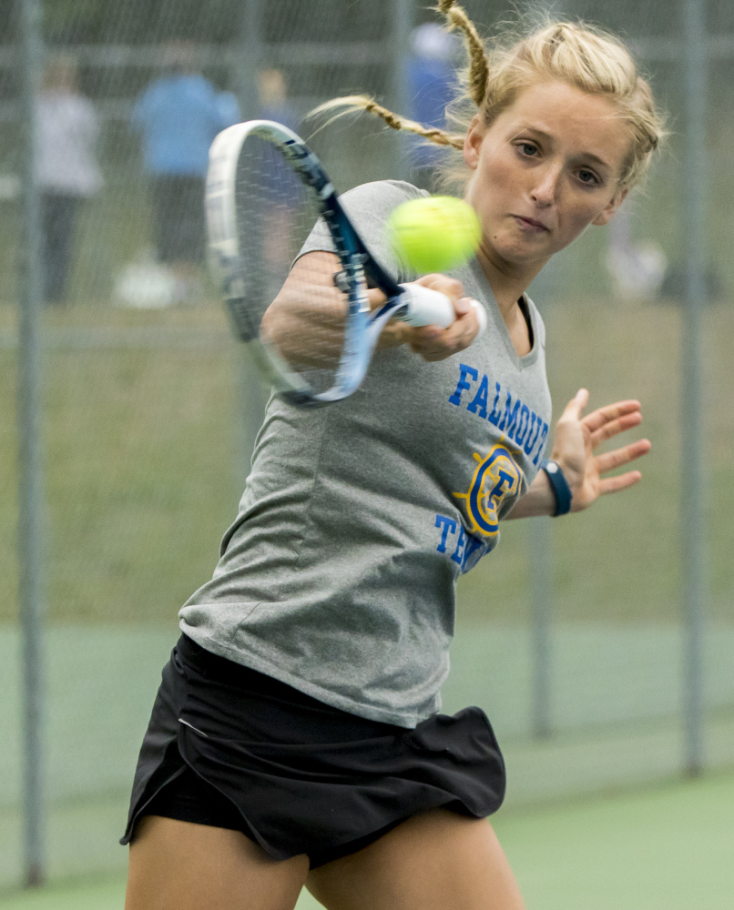Julia Brogan capped her stellar high school career with a pair of state championships, breaking through to win the singles title before leading Falmouth to another Class A title.