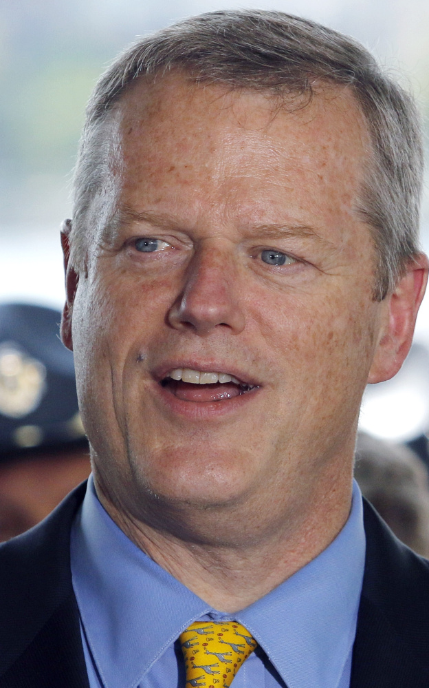Massachusetts Gov. Charlie Baker speaks Wednesday, June 29, 2016, during a media briefing about security regulations and logistics for the upcoming annual Boston Pops July Fourth concert and fireworks celebration  along the Charles River Esplanade in Boston. (AP Photo/Bill Sikes)