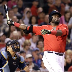 David Ortiz watches his solo homer in front of Tampa Bay catcher Hank Conger in the fourth inning Friday night Fenway Park.