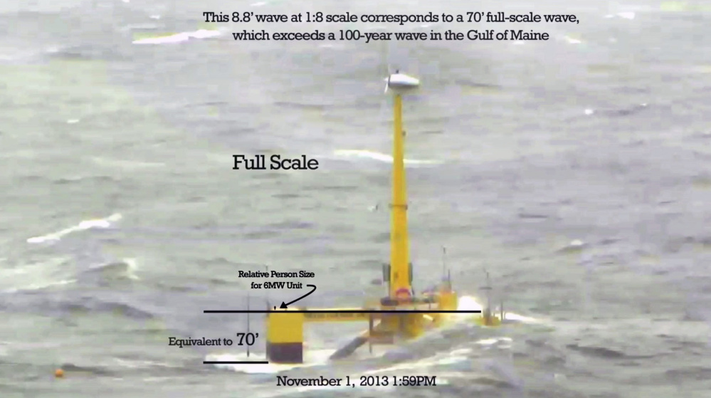 Waves crashing over a 1:8 scale model of the VolturnUS floating wind turbine during a storm on Nov. 1, 2013, would be the equivalent of a 70-foot high surge, if the project was full size, University of Maine researchers have calculated. Their experience with the scale model off Castine has given confidence to predictions that full-scale floating wind turbines could survive a 100-year storm in the Gulf of Maine.