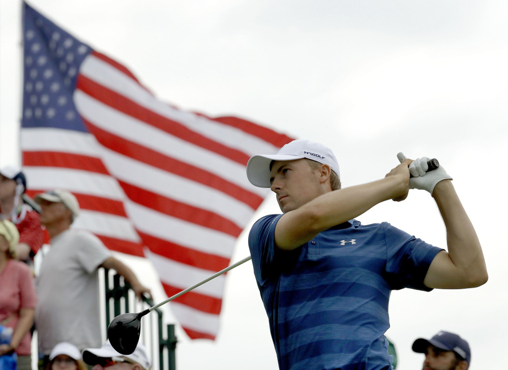Jordan Spieth watches his tee shot on the third hole during the first round of the U.S. Open golf championship at Oakmont Country Club in Oakmont, Pa. Spieth is out of the Olympics. He will be replaced by Matt Kuchar.