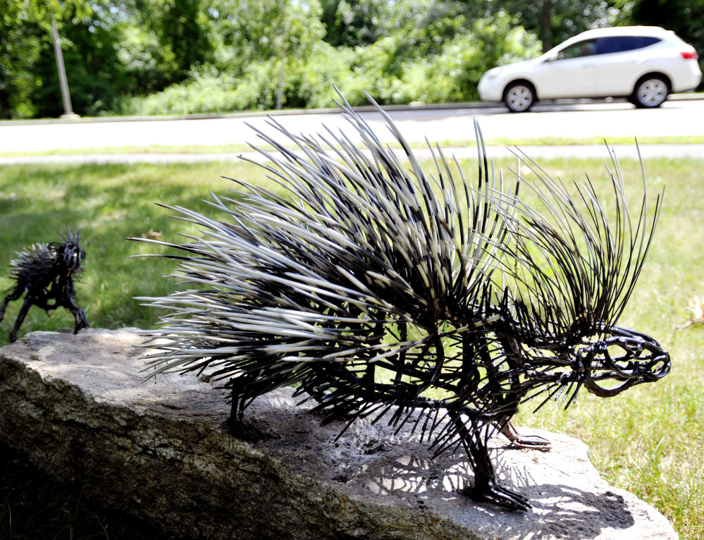 The city investigated a possible tampering incident with this porcupine sculpture by Wendy Klemperer on the access road to the Portland International Jetport. The sculpture replaced a similar piece of art that was stolen from the property in the spring.