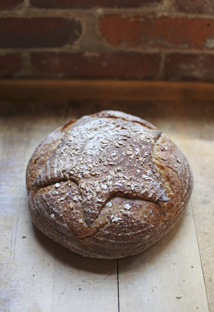 A loaf of Maine 5-Grains, a sourdough bread, baked by Standard Baking Co.