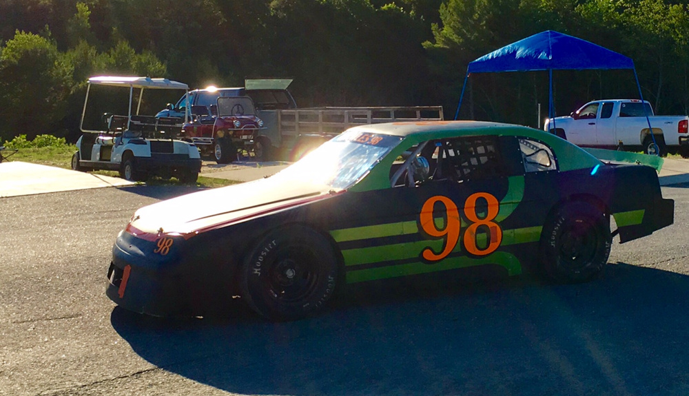 Kamren Knowles, of Readfield, a two-time New England 4-Cylinder Pro Stock champion at Wiscasset Speedway, heads on to the track for a heat race on July 2. The 16-year-old driver became the youngest champion in Wiscasset history when he won the division title as a 14-year-old two years ago.
