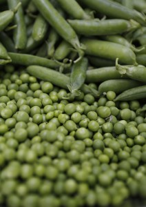 English peas and pea pods.