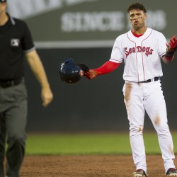 Yoan Moncada of the Portland Sea Dogs reacts Thursday night after being called out at second base on a pickoff during the 6-4 loss in 10 innings to the New Hampshire Fisher Cats at Hadlock Field.
