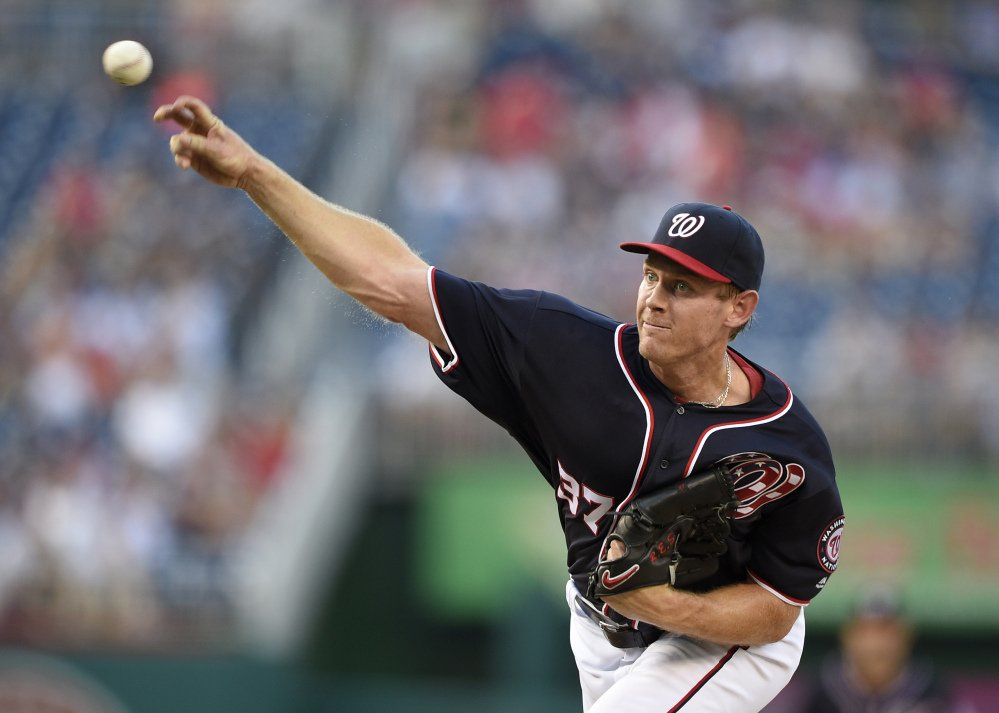 Washington Nationals starting pitcher Stephen Strasburg won his 16th consecutive decision on Friday night, a streak dating to last season that set a franchise record for starting pitchers.