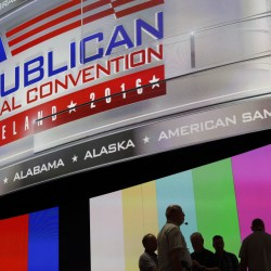 People gather onstage as preparations take place inside Quicken Loans Arena for the Republican National Convention in Cleveland.