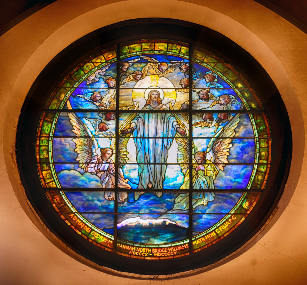 The Tiffany Ascension stained glass window is on the west end of St. Mark's Episcopal Church in Augusta.