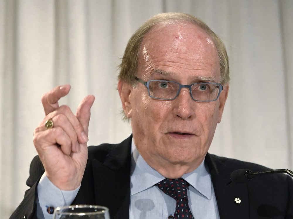 Canadian law professor Richard McLaren speaks at a news conference Monday in Toronto after presenting a report about a state-backed doping conspiracy in Russia.