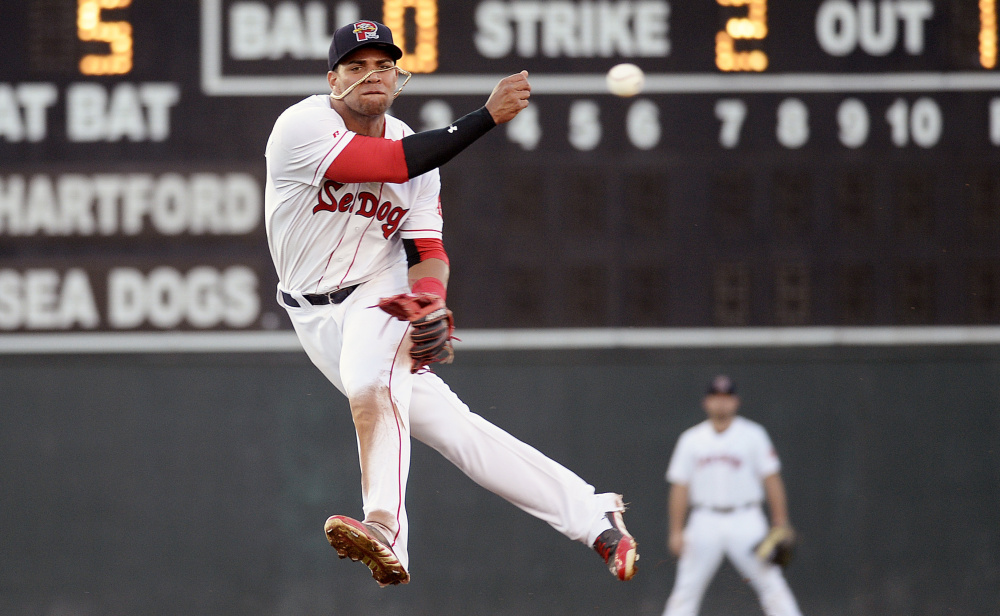 If the Red Sox ever decide to move Sea Dogs second baseman Yoan Moncada to another position, it won't be this season, says Red Sox President Dave Dombrowski.