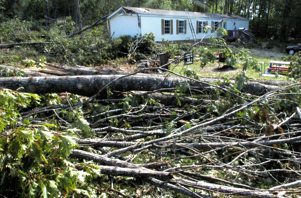 A house lot off Ballard Road in St. Albans is littered with dozens of fallen trees on Wednesday from the macroburst storm on Monday. Damage covered a 4-mile wide area.