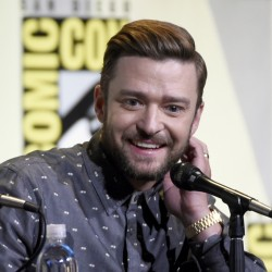 "Justin Timberlake attends the ""Trolls"" panel on day one of Comic-Con International on Thursday."