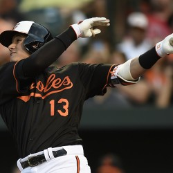 Baltimore's Manny Machado follows through on a solo home run in the third inning of Friday's 5-1 victory at home against Cleveland.