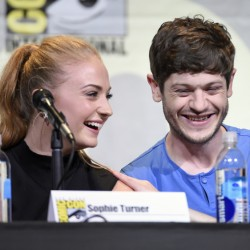 """Sophie Turner and Iwan Rheon are part of the """"Game of Thrones"""" panel on Day 2 of Comic-Con International on Friday in San Diego."""