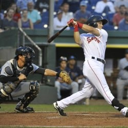 Andrew Benintendi hits a two-run triple that gave Portland the lead in a 5-2 win over Trenton in an Eastern League game Monday at Hadlock Field.